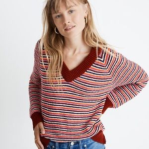 NWT Madewell V Neck Cropped Striped Sweater